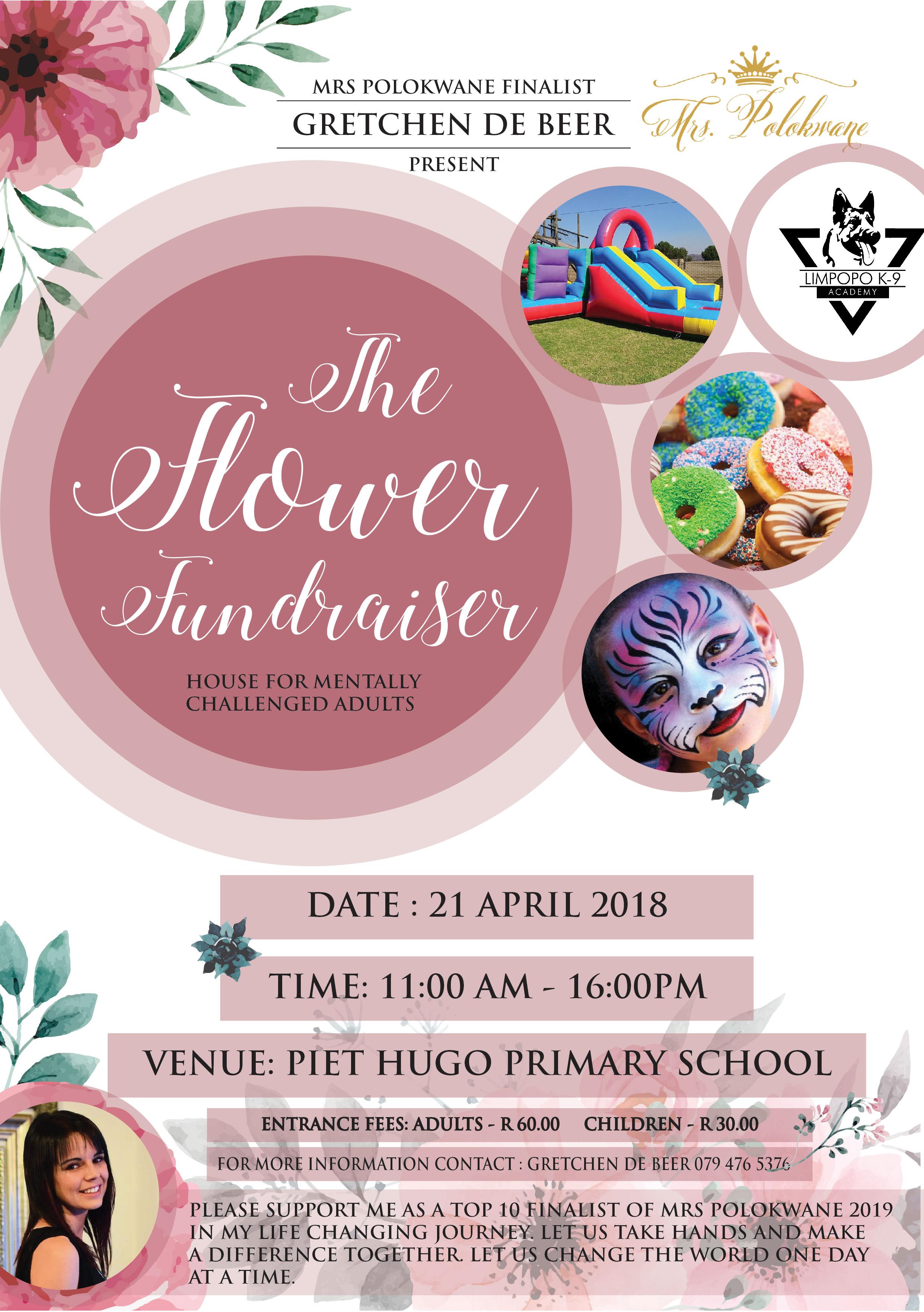 mrs polokwane the flower fundraiser a5 flyer design intense